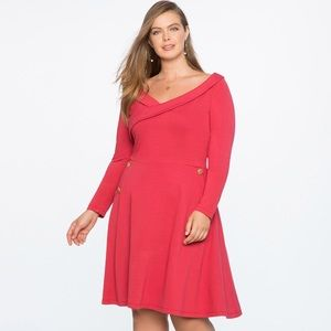 NWT Eloquii Button Detail Fit and Flare Dress